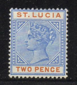 St Lucia Sc 30 1898 2d ultra & brown orange Victoria stamp mint