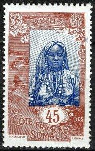 French Somali Coast 1915, 45c Somali Woman VF MNH, Maury 93