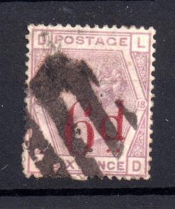 GB QV 6d on 6d lilac SG162 fine used WS7253