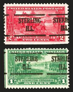 #617 &  #618 1c-2c 1925 Lexington Concord VF Mint Rare Sterling ILL Pre Cancel