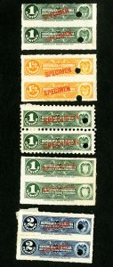 Colombia Stamps # 10 specimen stamps in perf and imperf pairs