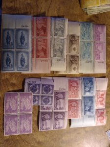 US 3 cent blocks mint never hinged Collection
