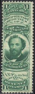 Scott #RS189b - R. V. Pierce - 1c Green - Silk Paper - Private Die Medicine