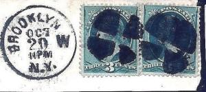 US Piece w/Bold Quartered Cork Fancy Cancels & Validating BROOKLYN, N.Y.  CDS