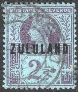 ZULULAND-1891 2½d Purple/Blue Sg 4 FINE USED V50113