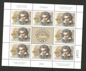 SERBIA -MNH S/S - 250th ANNIVERSARY OF THE BIRTH OF LUDWIG VAN BEETHOVEN - 2020.