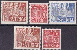 Sweden #369-73  F-VF Unused  CV $14.00 (Z5300)