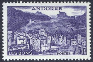 Andorre (French) 1955 75fr Violet Blue Les Bons Scott 142 UMM/MNH Cat $65