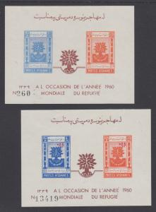 Afghanistan Sc 471, B36 footnote MNH. 1960 World Refugee Year, 2 imperf sheets