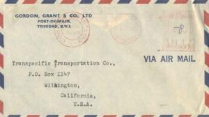 Trinidad 20c Meter 1954 Port-of-Spain, Trinidad Airmail to Wilmington, Calif....