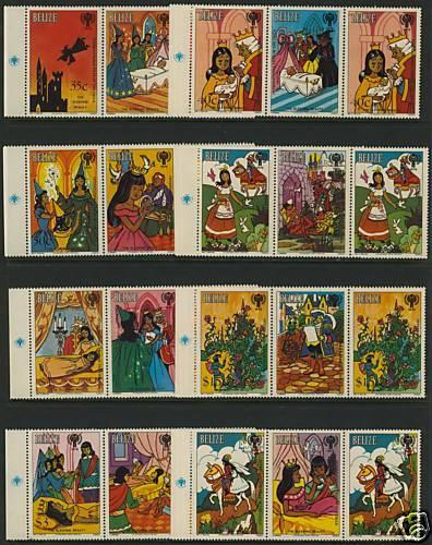 Belize 513+Label Pairs MNH Fairytales, Sleeping Beauty