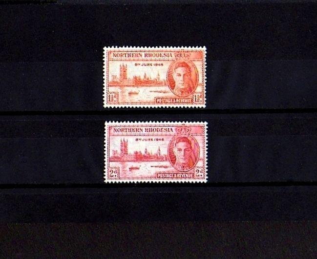 NORTHERN RHODESIA - 1946 - KG VI - PEACE  ISSUE - MINT - MNH - SET OF 2!