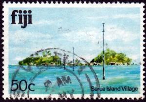 Fiji #422 Serua Island Village issued in 1980.PM,HR