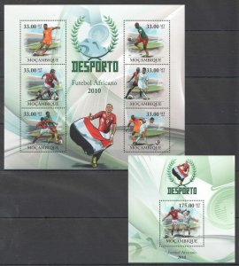 BC1358 2010 MOZAMBIQUE SPORT AFRICAN FOOTBALL CUP OF NATIONS EGYPT 1KB+1BL MNH