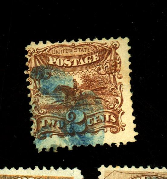 U.S. #113 Used Ave-Fine Blue cancel Cat$ 125