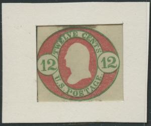 #U42E 12¢ NESBITT BICOLOR ESSAY (CARMINE & GREEN) HV8843