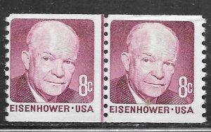 USA 1402: 8c Dwight D. Eisenhower, coil line pair, MNH, F-VF