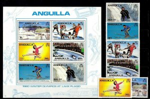ANGUILLA - 1980 - WINTER OLYMPICS - LAKE PLACID - SKI - HOCKEY ++ MNH SET + S/S!