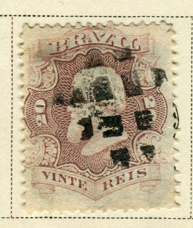 BRAZIL; 1866 early classic Pedro issue fine used 20r. value