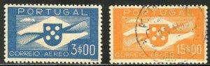 Portugal Scott C4,C8 Unused and Used F-VFLH -1941 Airmails Short Set - CV $21.00
