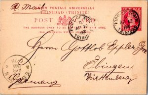 Trinidad 1d QV Postal Card 1900 Port of Spain, Trinidad to Ebingen, Germany.
