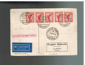 1929 Germany Graf Zeppelin LZ 127 RPPC Postcard Cover to Switzerland Dubbendorf