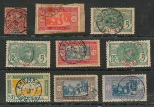 SENEGAL - POSTAL HISTORY: Small lot of used stamps with nice POSTMARKS