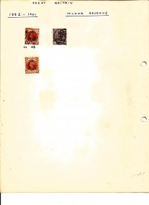 GREAT BRITAIN, QUEEN VICTORIA - 1882-1901 Inland Revenue - 3 Used Perf Stamps
