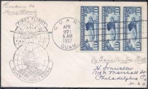 C10a, BOOKLET ON COVER TO GUAM TO HONG KONG- VERY RARE