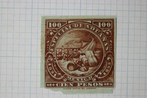 Mexico Revenue timbre fiscal 100p pesos 1891 1892 Special Customs import stamp