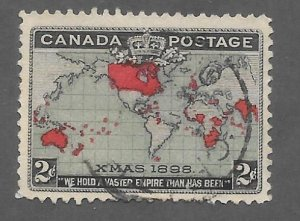 Canada Scott #86 Used 2c Map of British Empire 2018 CV $9.00