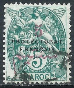 French Morocco, Sc #41, 5c on 5c, Used