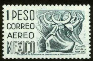 MEXICO C473, $1P 1950 Defin 9th Issue Unwmkd Fosfo Coated. MINT, NH. F-VF.