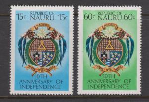 Nauru 1978 Independence Anniversary Set Sc#159-160 MNH