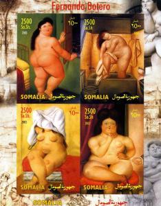 Somalia 2003 FERNANDO BOTERO Nudes Paintings Sheet Imperforated Mint (NH)