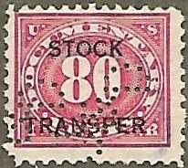 United States #RD10 80c Stock Transfer Revenue USED (1918)