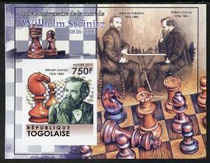 Togo 2011 Chess - Wilhelm Steinitz #2 imperf m/sheet unmo...