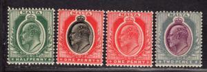 $Malta Sc#30-33 M/H, partial set, Cv. $37