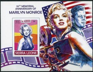 SIERRA LEONE 2017  55th MEMORIAL  ANN  OF MARILYN MONROE WITH JFK  S/S IMPF  NH