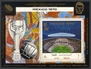 Yemen 276A, MNH, World Cup Football Mexico, Aztec Stadium souvenir sheet