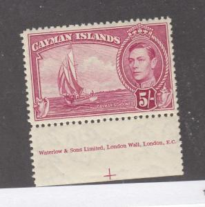 CAYMAN ISLANDS # 110 VF-XLH KGV1 5sh WITH INSCRIPTION CAT VALUE $24.50