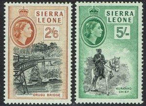 SIERRA LEONE 1956 QEII PICTORIAL 2/6 AND 5/- MNH **