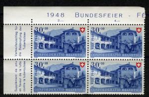 Switzerland, 1948 Pro Patria 30 +10 Rp. MNH margin block of 4, with inscription