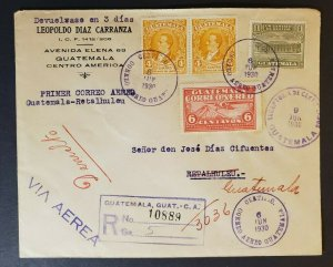 1930 Guatemala Registered Air Mail Multi Franking Advertising First Flight Cover