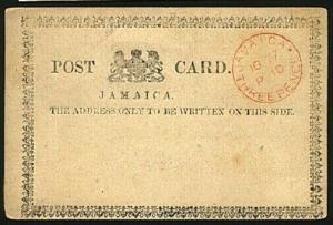 JAMAICA 1877 JAMAICA /PAID/ THREEPENCE postcard unused - scarce............97260