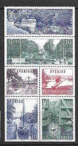 SWEDEN, 1285-1290, HINGED,BKLT PANE OF 6, BOAT TYPE