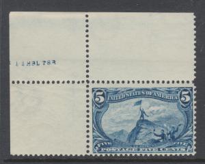 US Sc 288 MNH. 1898 5c dull blue Trans-Mississippi, choice sheet corner single