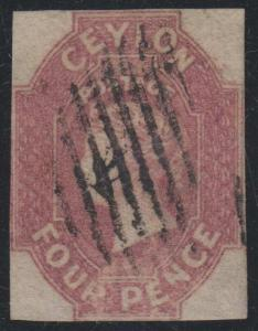 BC CEYLON 1857 QV Sc 5 DULL ROSE KEY VALUE WMK 6 & LINE MUTE PMK F,VF SCV$4,500