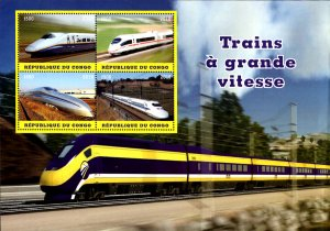Congo 2018 High Speed Trains Railways 4v MNH S/S, Size:8.5x6. (L-169)