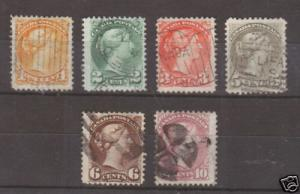 Canada Sc 35-40 used 1870-89 Small Queens